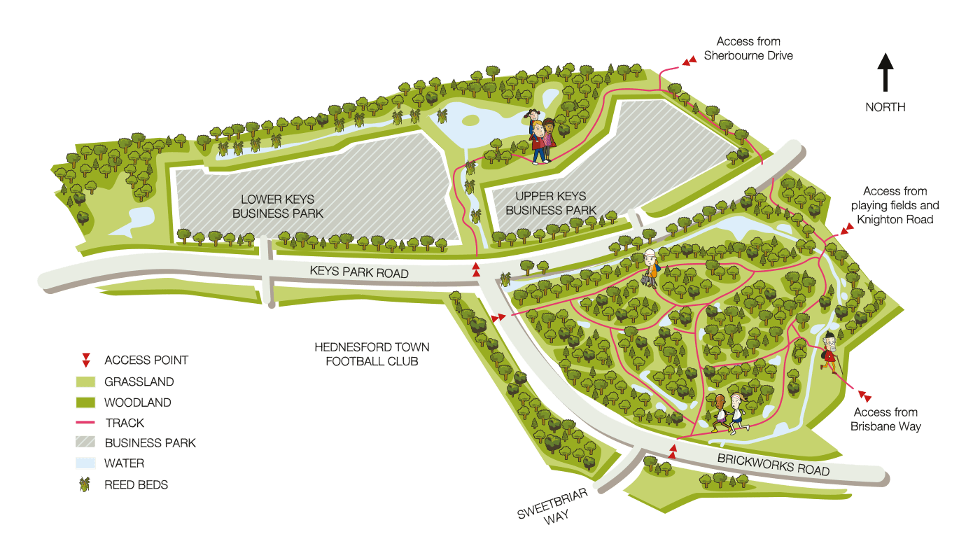 A site map graphic of The Land Trust's old Brickworks nature reserve