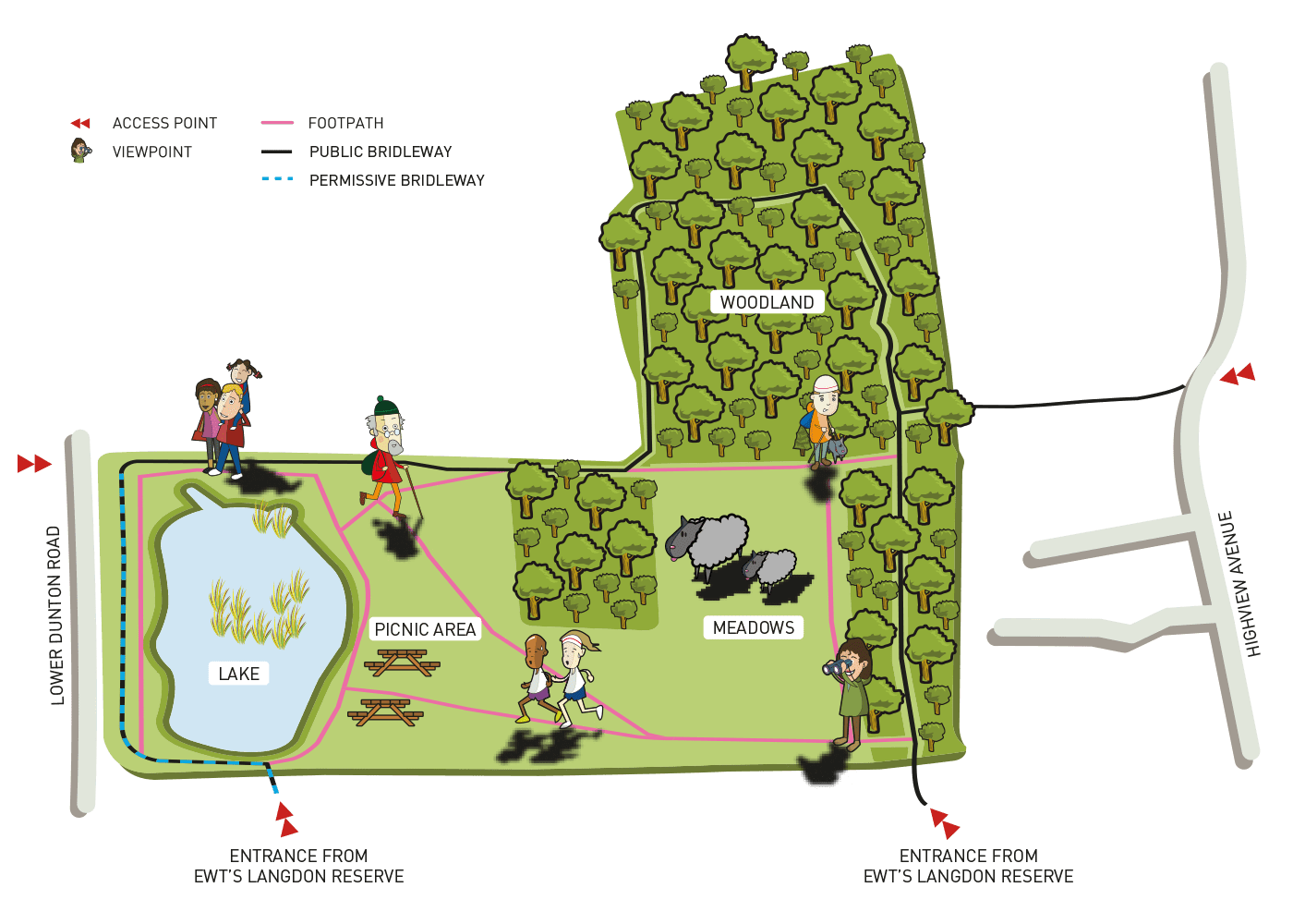 A site map graphic of The Land Trust's Langdon Lake nature reserve