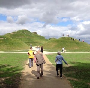 Members of the local community enjoying the paths in and around the Land Trust's site, Northumberlandia