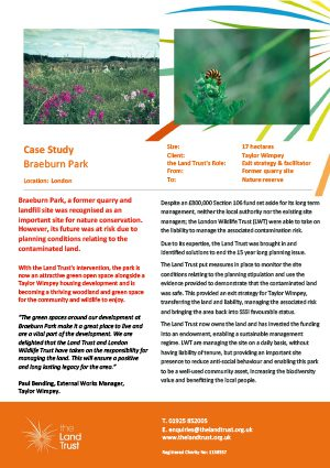 Case study for The Land Trust's Braeburn nature reserve in London.