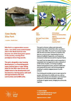 Case study for The Land Trust's Elba Park in the north east of the England.