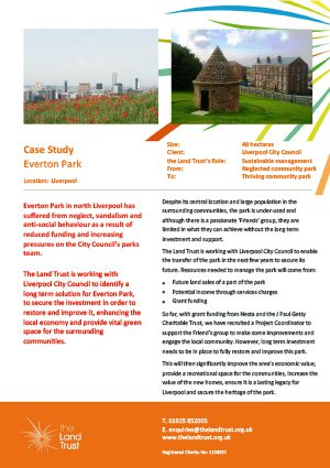 Case study for The Land Trust's Everton Park in Merseyside.