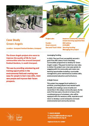 Case study for The Land Trust's Green Angels environmental education initiative in Merseyside.