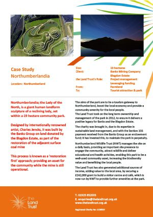 A case study of The Land Trust's Northumberlandia site in the north east of England.