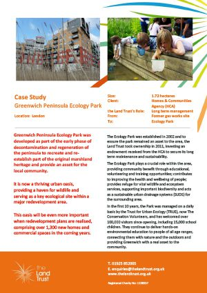 A case study for The Land Trust's Greenwich Peninsula Ecology Park site.